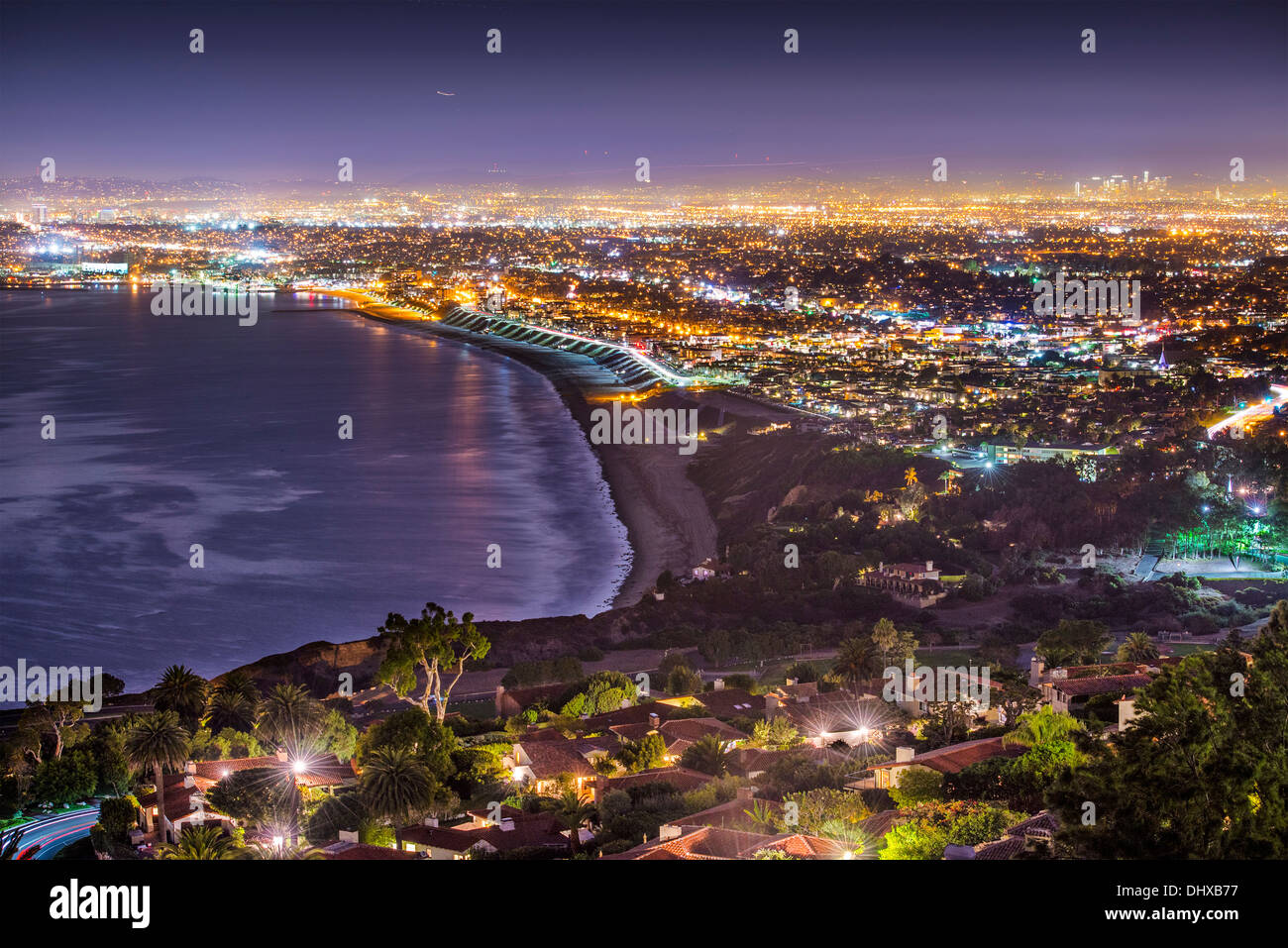 The Pacific Coast of Los Angeles, California as viewed from Rancho Palos Verdes. - Stock Image