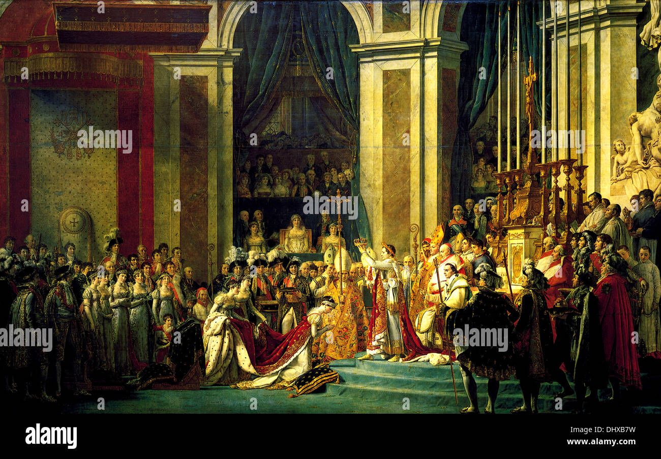 The Coronation of Napoleon - by Jacques-Louis David, 1806 - Stock Image