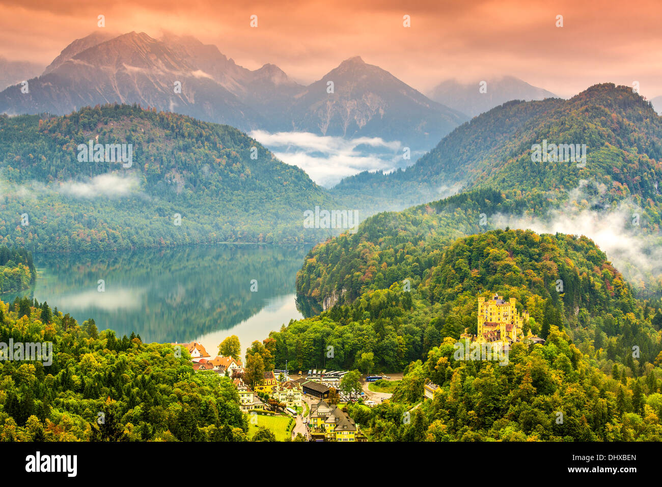 Misty day in the Bavarian Alps near Fussen, Germany. - Stock Image