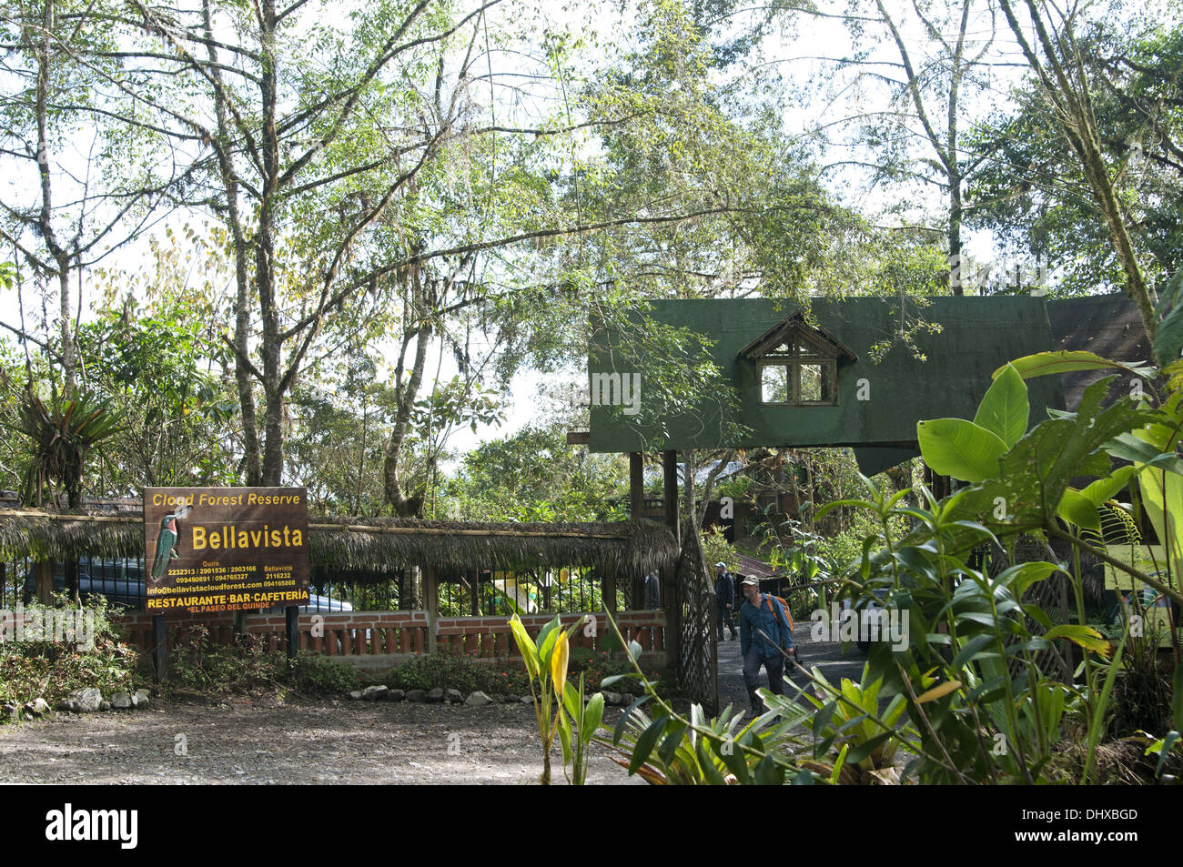 Entry to the Bellavista Cloud Forest Lodge - Stock Image