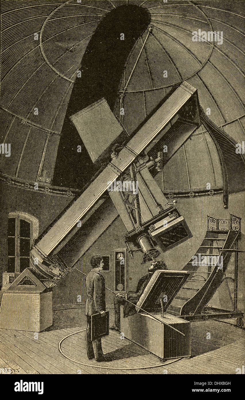 1897 engraving, Photographic Telescope (14 inches aperture and 11 feet focus) of the Paris Observatory. - Stock Image