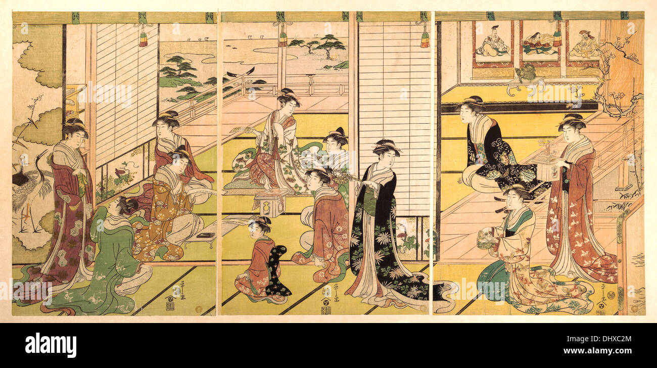 Honoring Three Gods of Poetry: Women Composing Poems  - by Chobunsai Eishi, 1798 - Stock Image