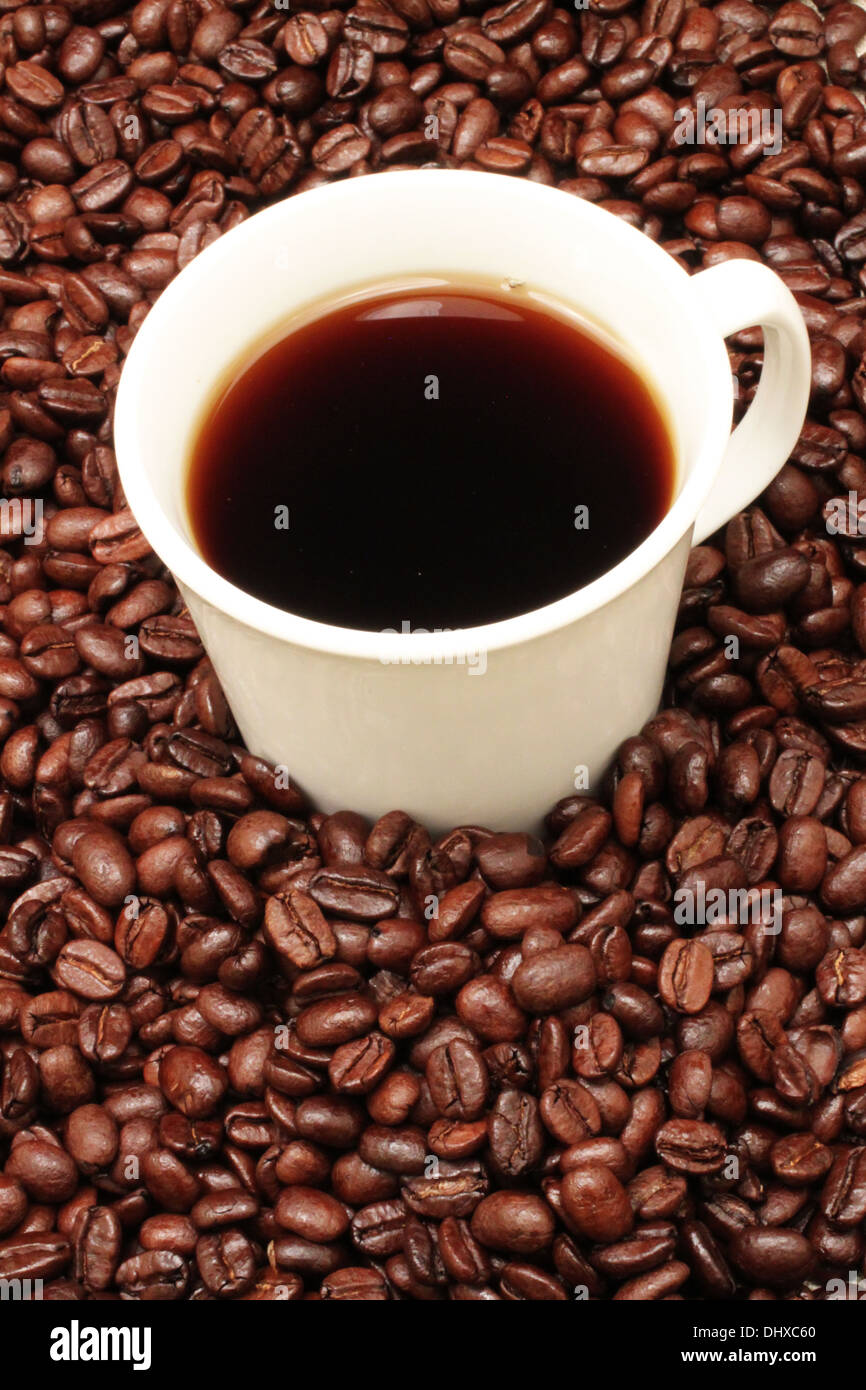 Coffee beans with a white cup of coffee - Stock Image