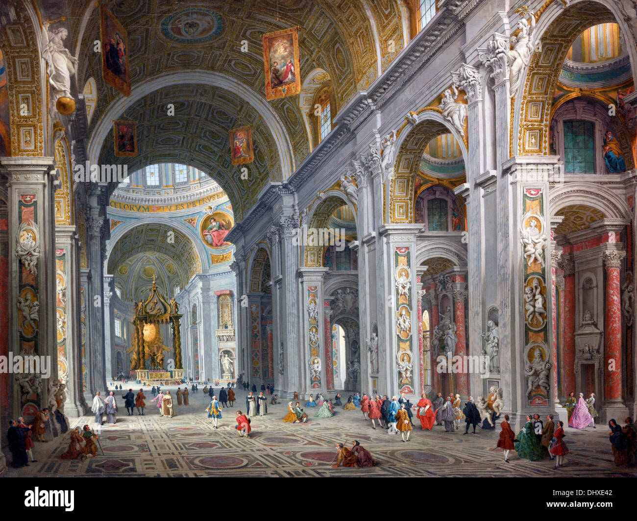 Interior of Saint Peter's, Rome - by Giovanni Paolo Panini, 1754 - Stock Image