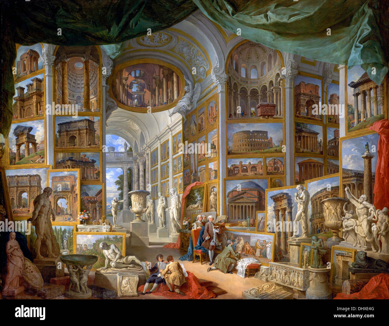 Ancient Rome - by Giovanni Paolo Panini, 1757 - Stock Image