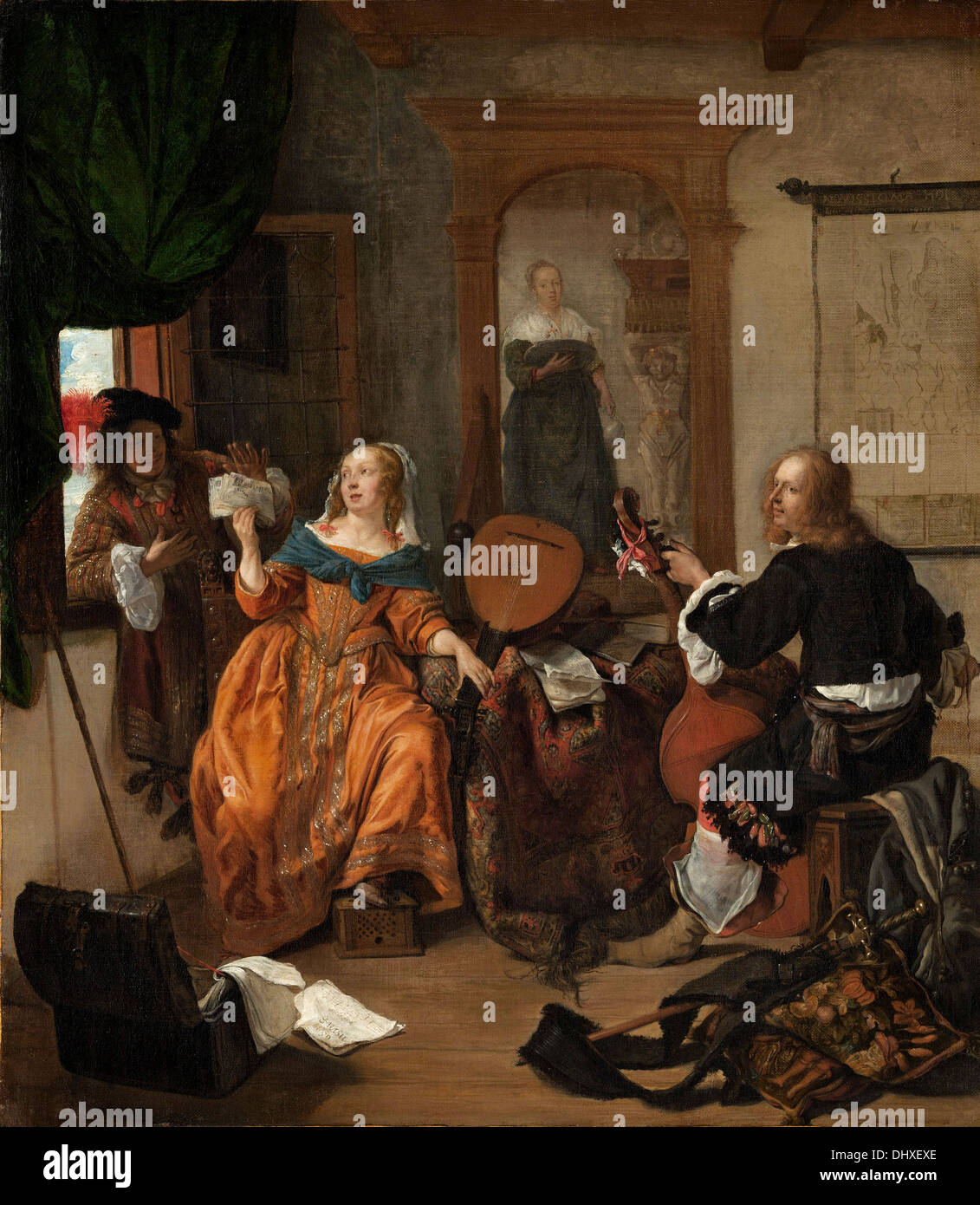 A Musical Party - by Gabriel Metsu, 1659 - Stock Image