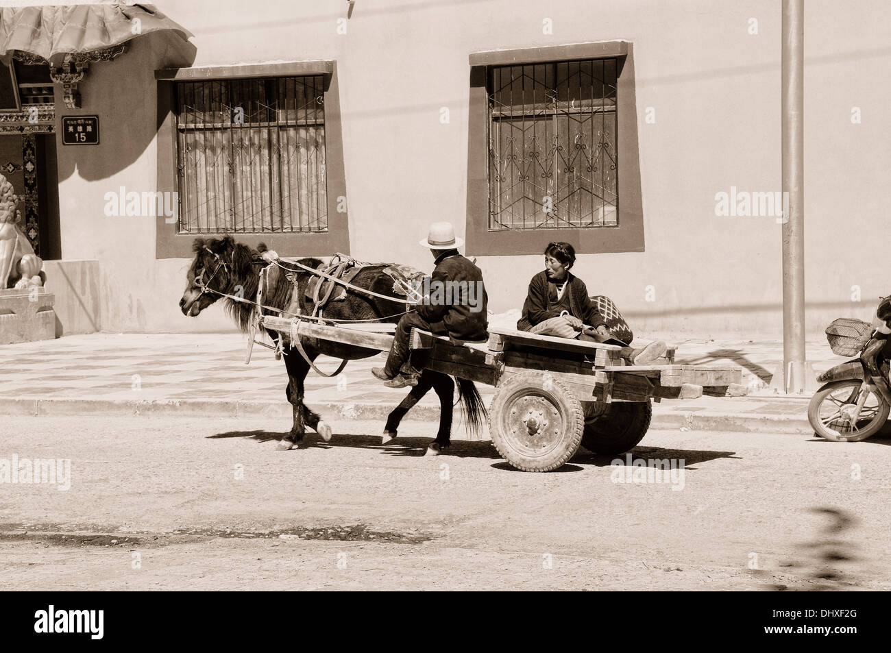 Horse and cart in Tibet sepia - Stock Image