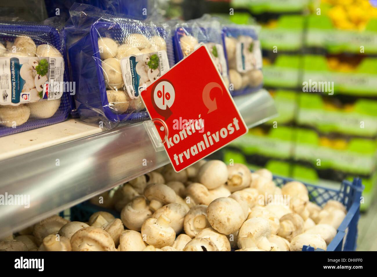 Mushrooms in a supermarket , Czech Republic in Prague - Stock Image