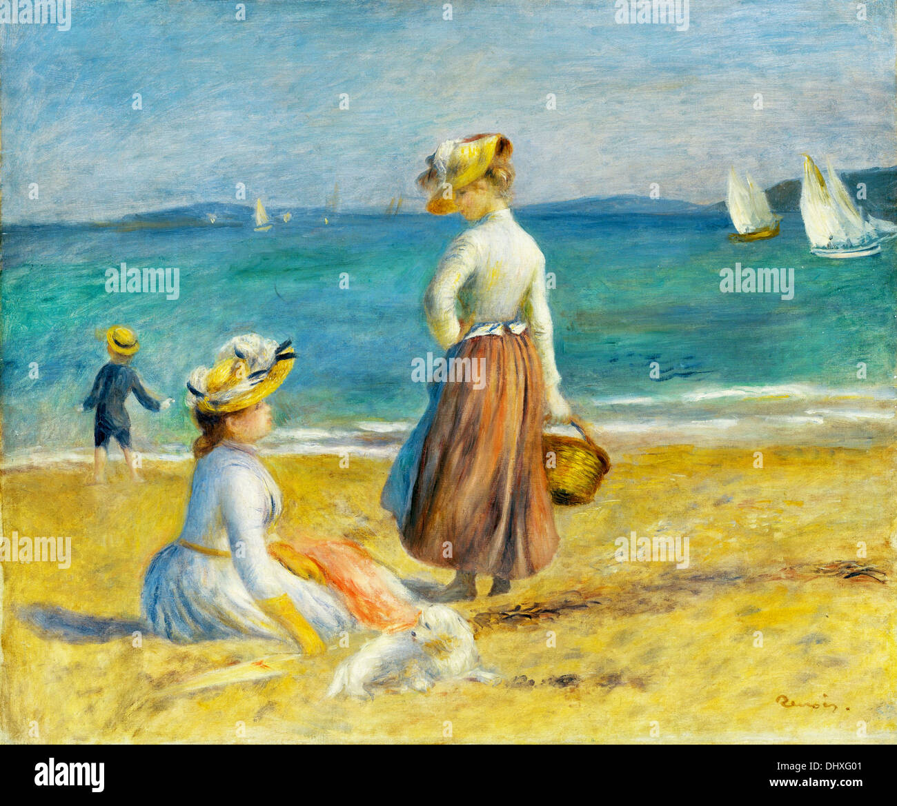 Figures on the Beach - by Auguste Renoir, 1890 - Stock Image
