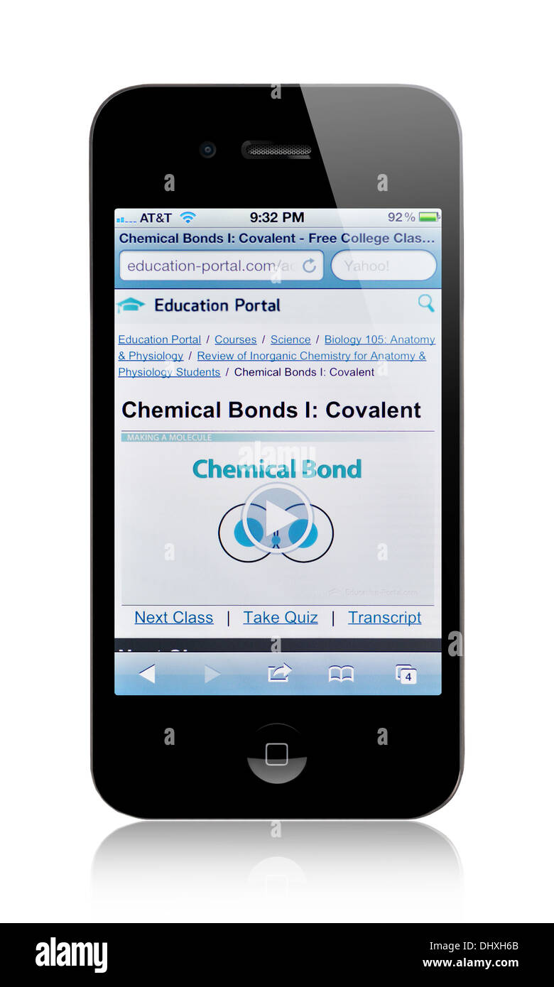 iPhone screen showing Education Portal website of online courses ...