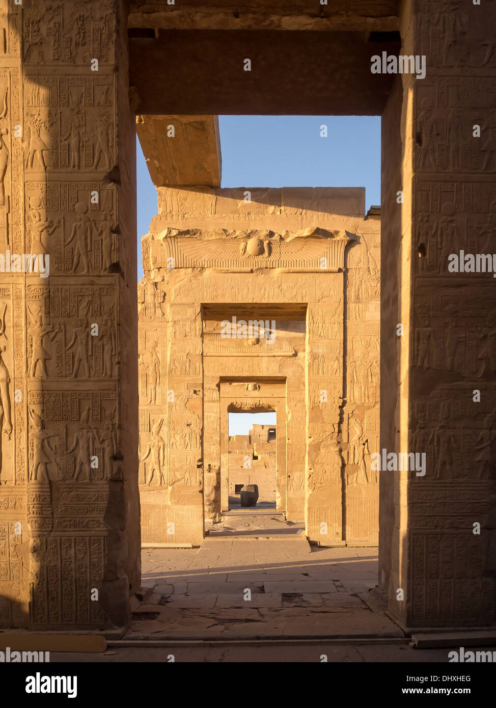 The Temple of Kom ombo dedicated to the gods Sobek and Horus the elder Stock Photo