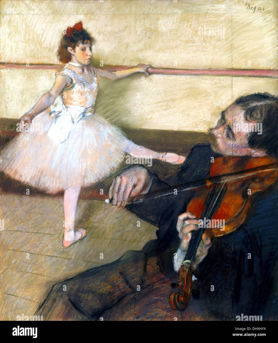 The Dance Lesson  - by Edgar Degas, 1879 - Stock Image
