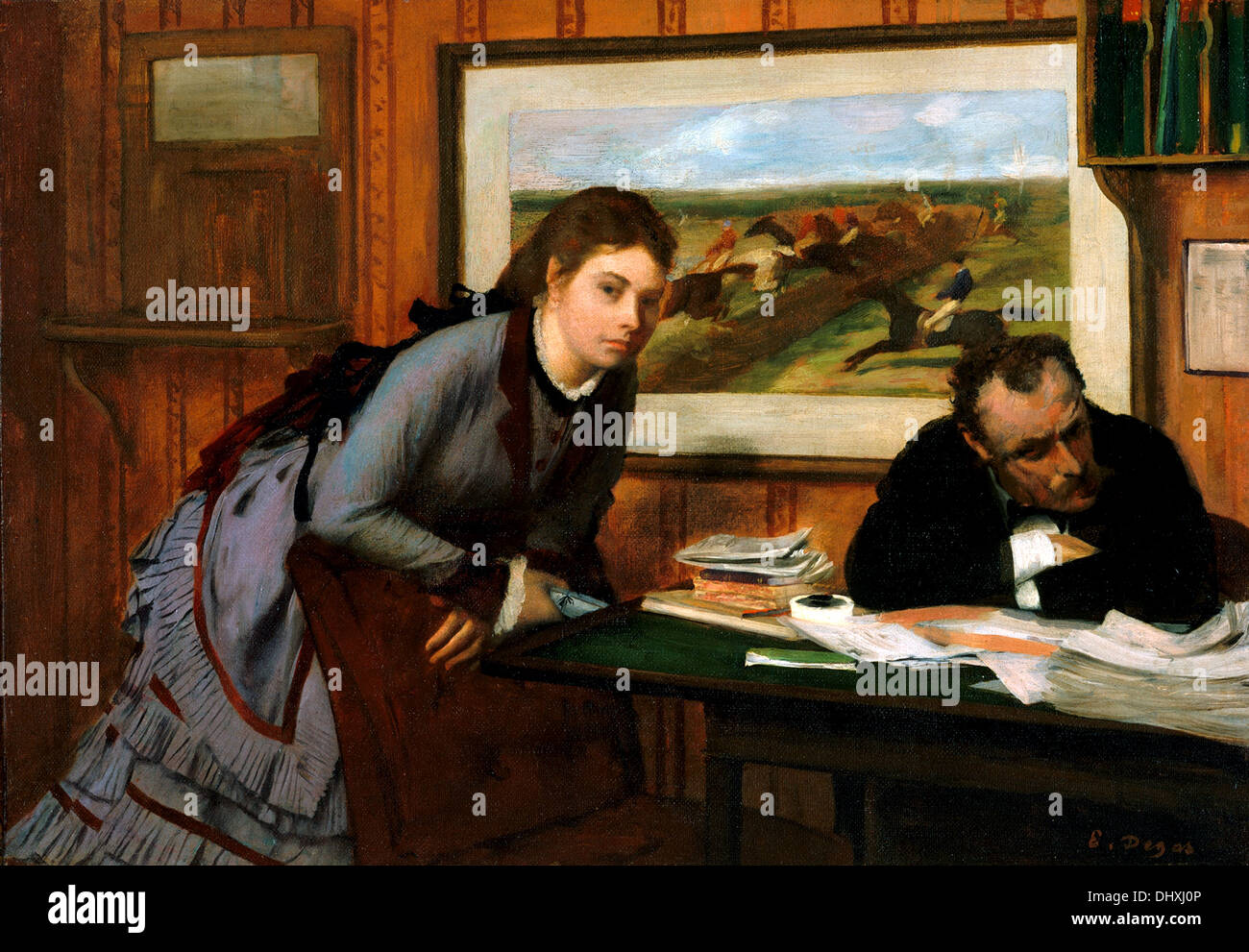 Sulking - by Edgar Degas, 1870 - Stock Image