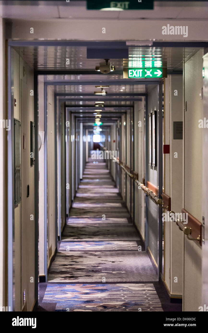 Cabins and hallway of a cruise ship. - Stock Image