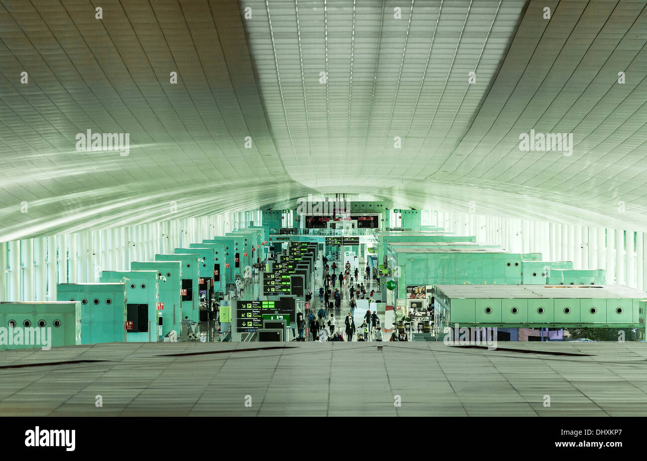 Busy terminal in the Barcelona airport, Spain - Stock Image