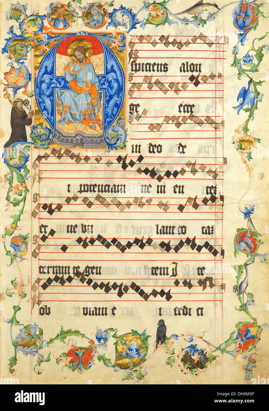 Christ in Majesty in an Initial A ( Bifolium from an Antiphonary ), 1405 - Stock Image