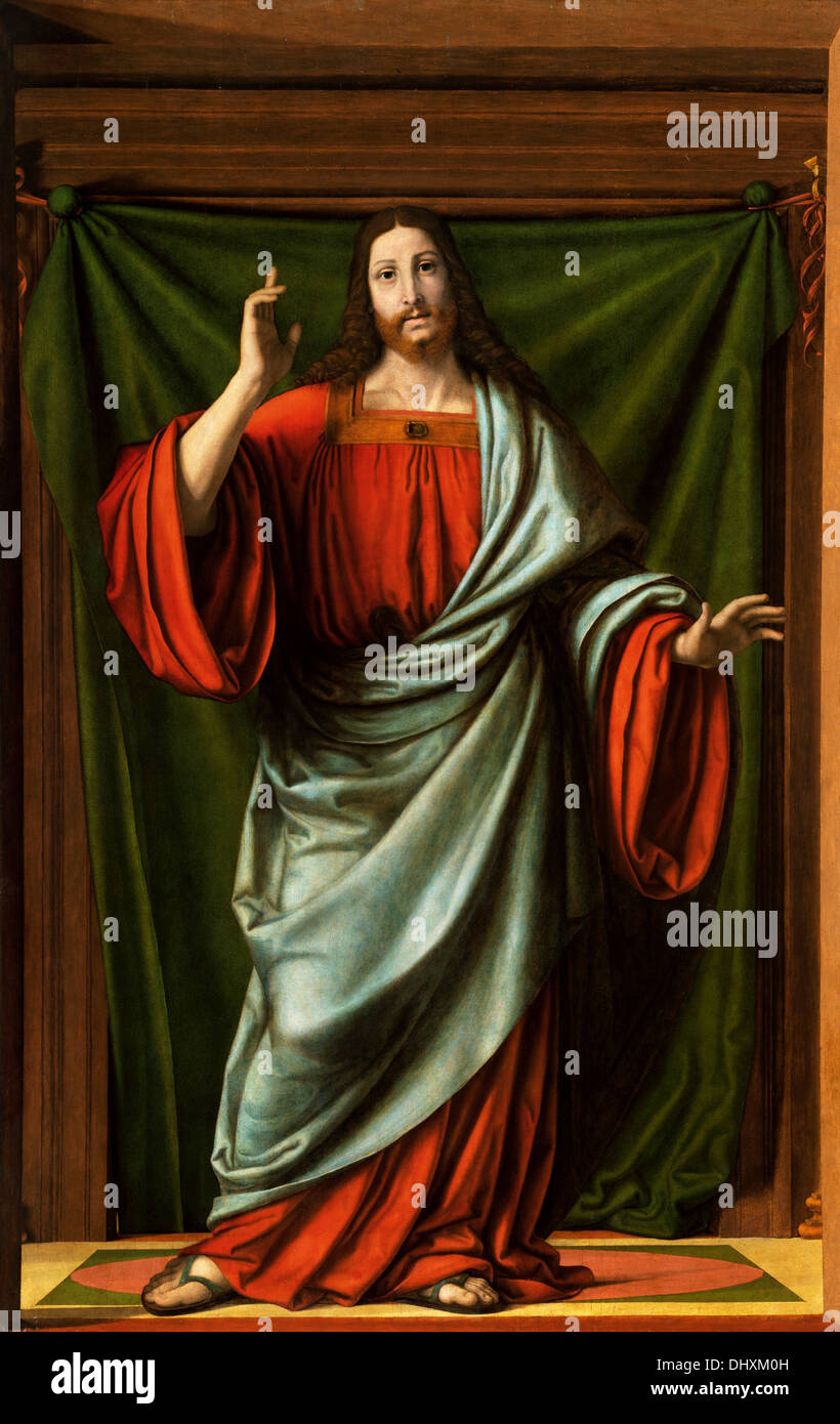 Christ Blessing - by Andrea Solario, 1524 - Stock Image