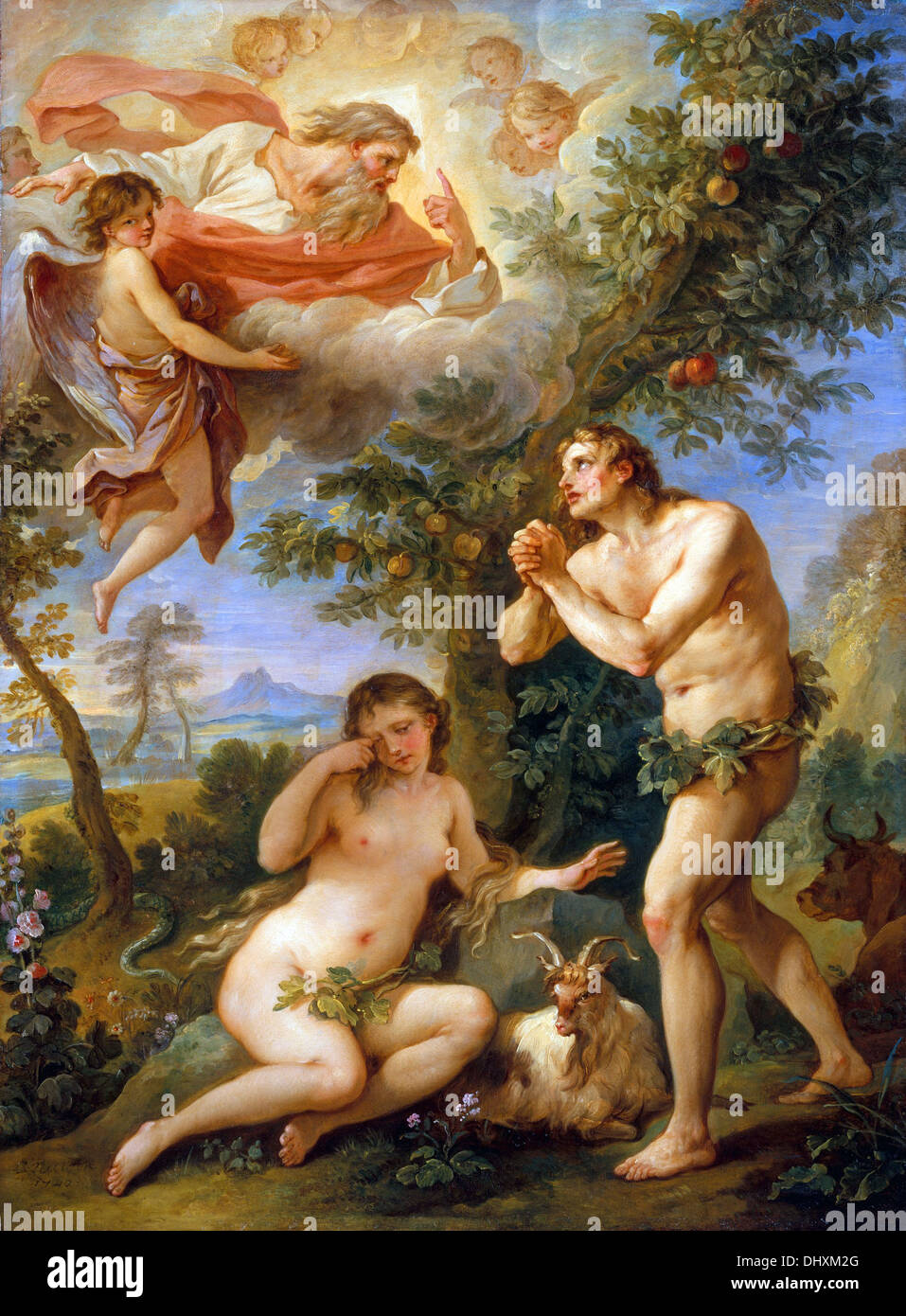 The Expulsion from Paradise - by Charles Joseph Natoire, 1740 - Stock Image