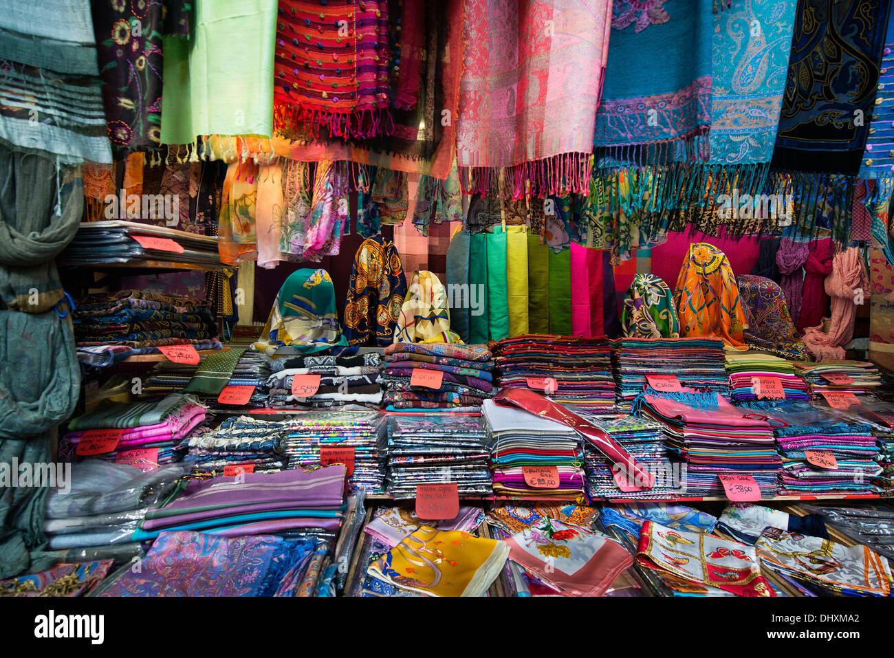Italian silk goods shop in the Mercato Porcellino, Porcellino Market, Florence, Italy - Stock Image