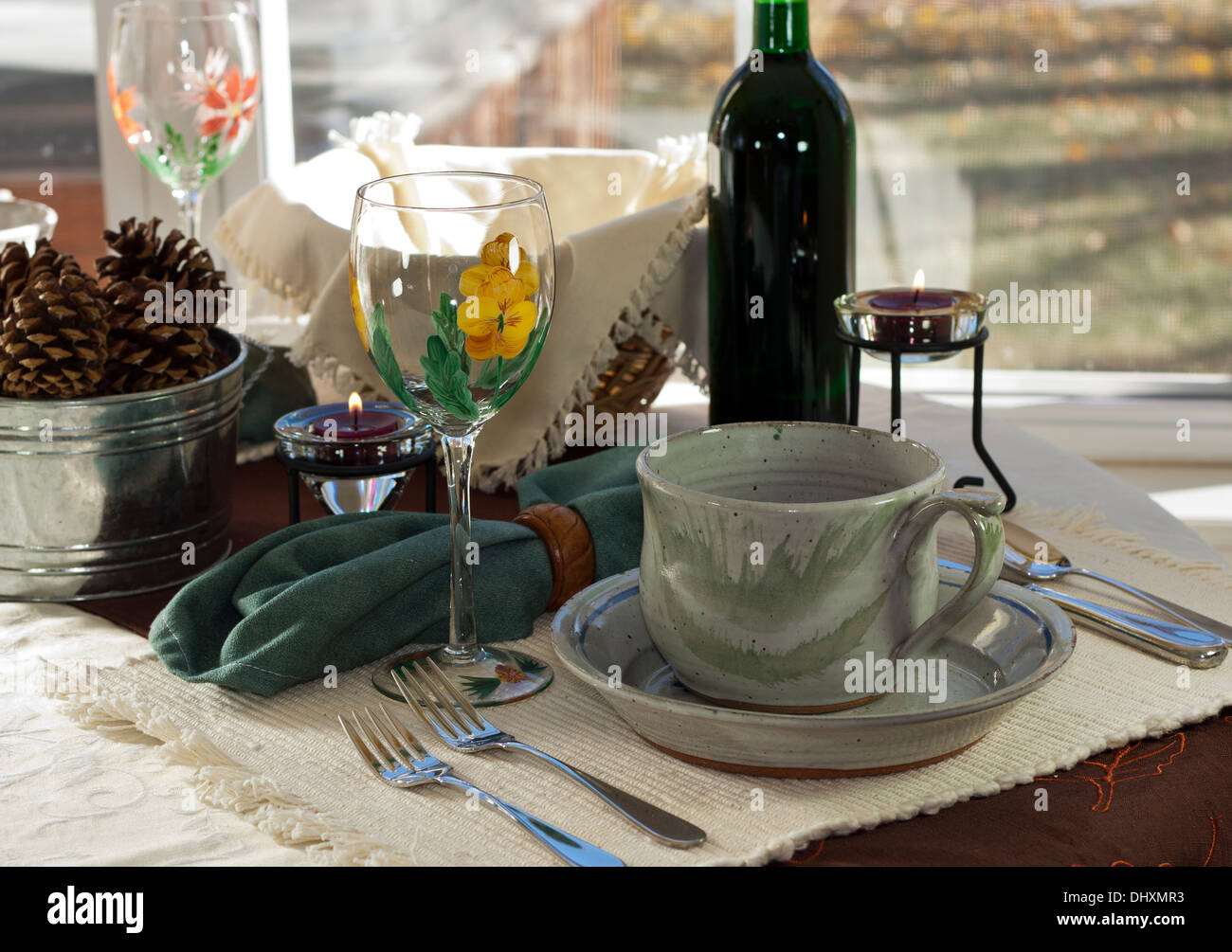 Casual lunch table setting, simple and rustic with artsy wine glass ...