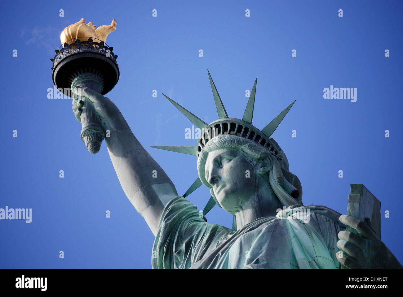 Bust of the Stature Of Liberty, New York City, NY, view from bellow. - Stock Image