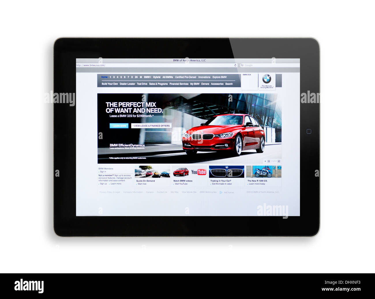 BMW German car manufacturer website on iPad - Stock Image
