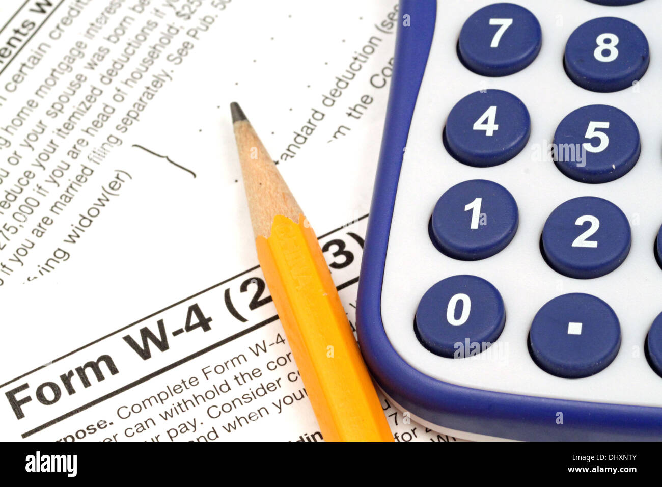 Irs Form W 4 Close Up With Tax Preparation Tools Stock Photo