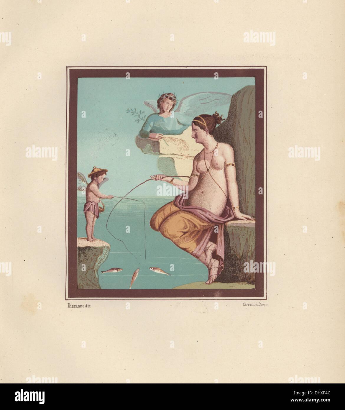 Wall painting of Venus and Amor fishing. - Stock Image