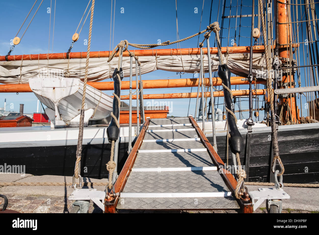 Runway of a tall sailing ship in Amaliehaven, Copenhagen, Denmark - Stock Image