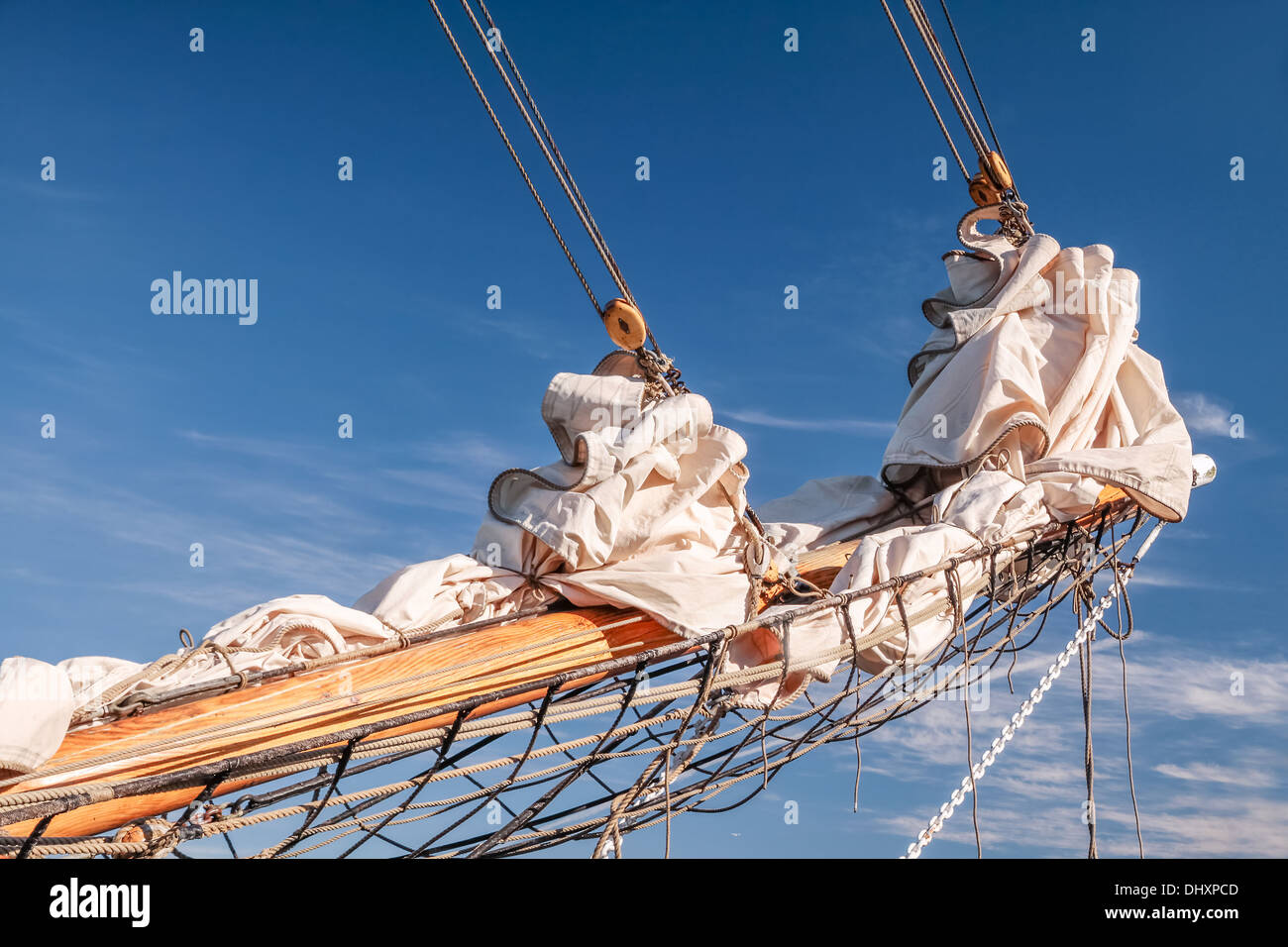 Gathered sail of a big sailing ship in Amaliehaven in Copenhagen, Denmark - Stock Image