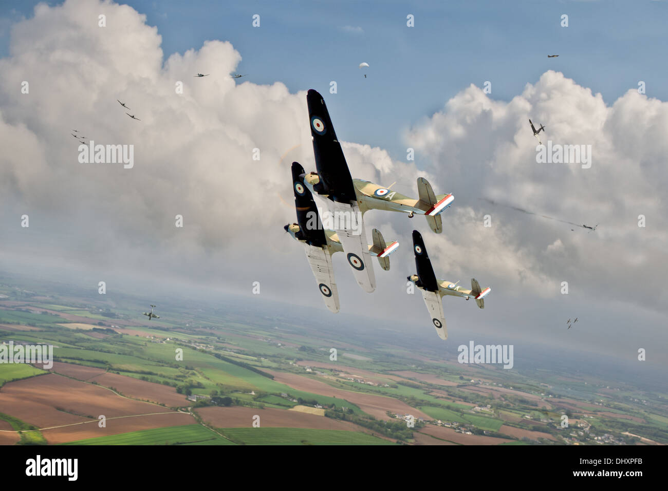 RAF Hurricane fighters go up against Messerschmitt Bf 109 'Emils' in France during the so-called Phoney War in early 1940. - Stock Image