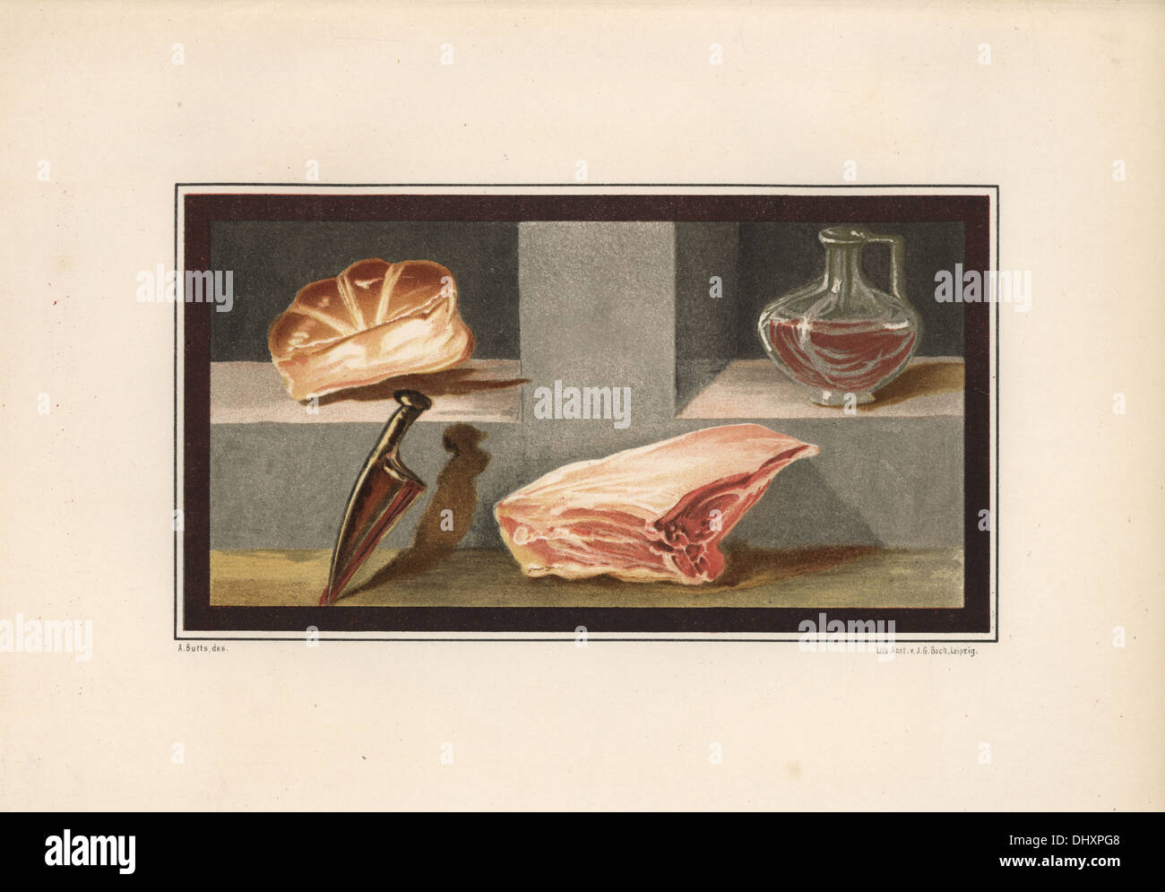 Painting of a still life showing meat, wine, bread and a knife from the ala at house 16, Regio IX, Insula V. - Stock Image