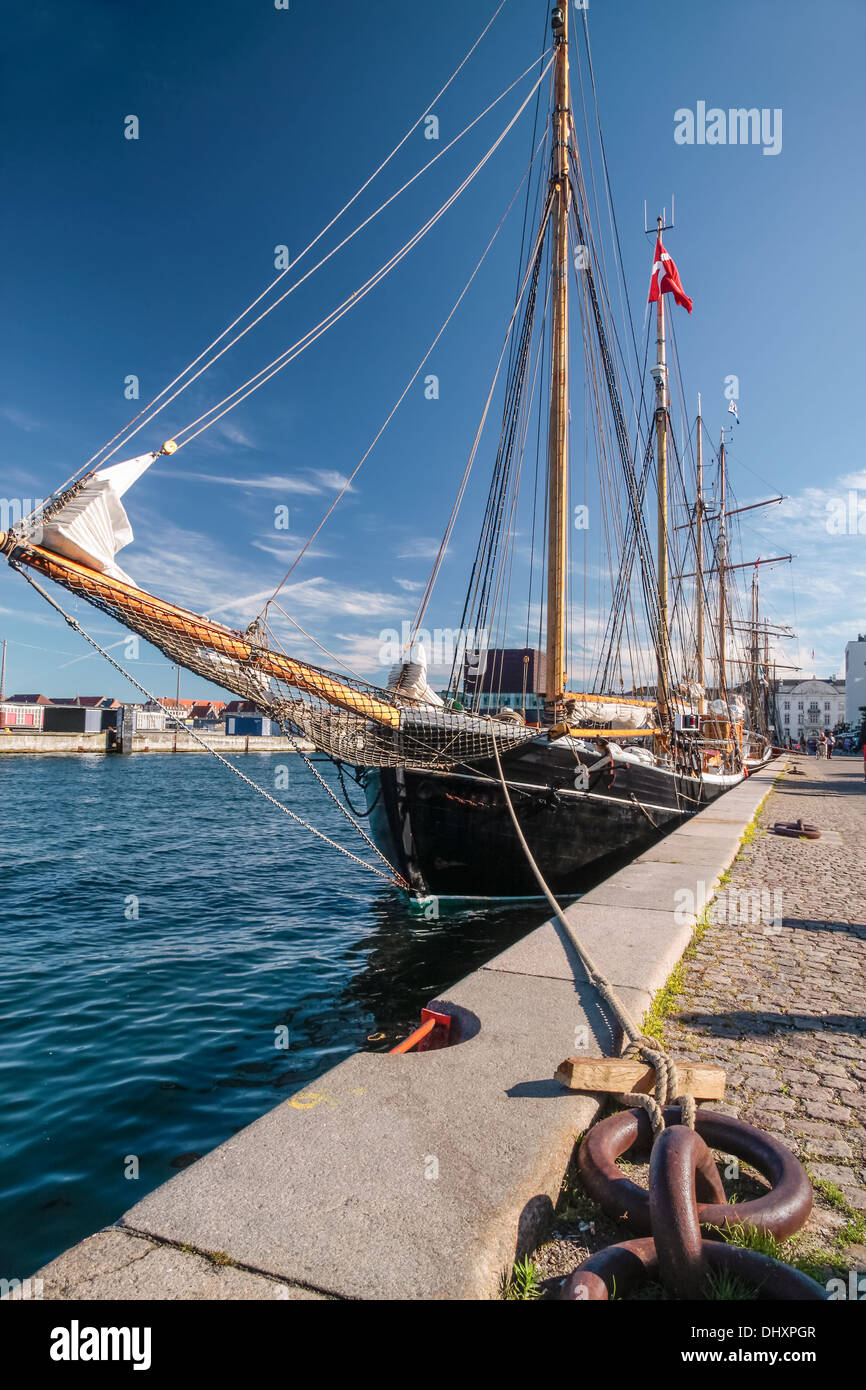 Large old sailing ship anchored in Amaliehaven in Copenhagen, Denmark - Stock Image