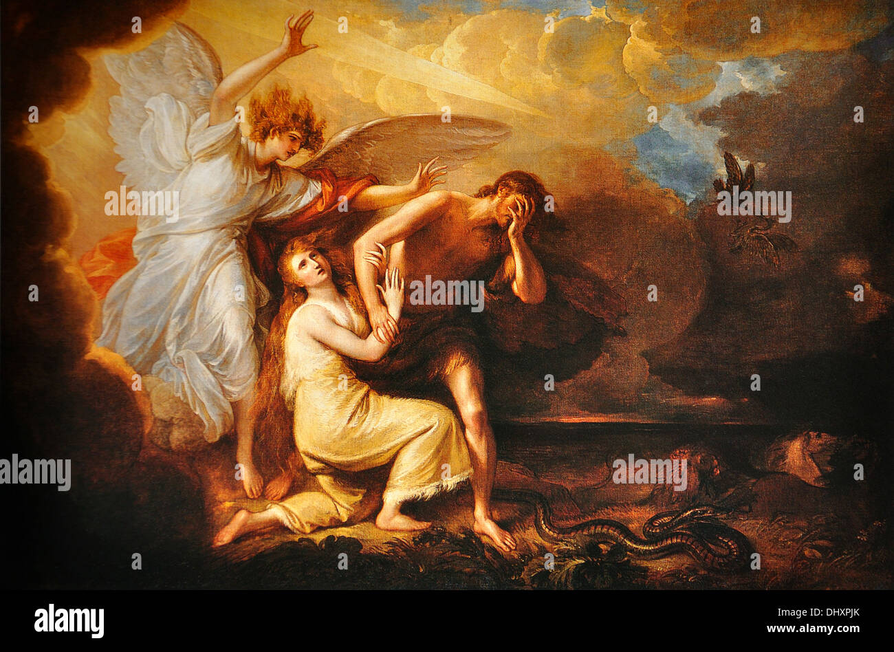 The Expulsion of Adam and Eve from Paradise - by Benjamin West, 1791 - Stock Image
