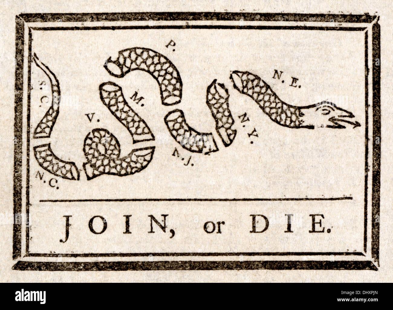 Join, or Die - by Benjamin Franklin, 1754 - Stock Image
