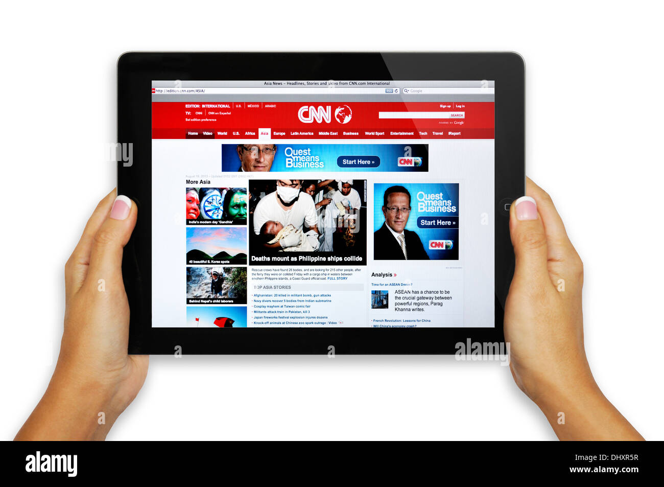 Asia CNN website on iPad screen Stock Photo: 62669203 - Alamy
