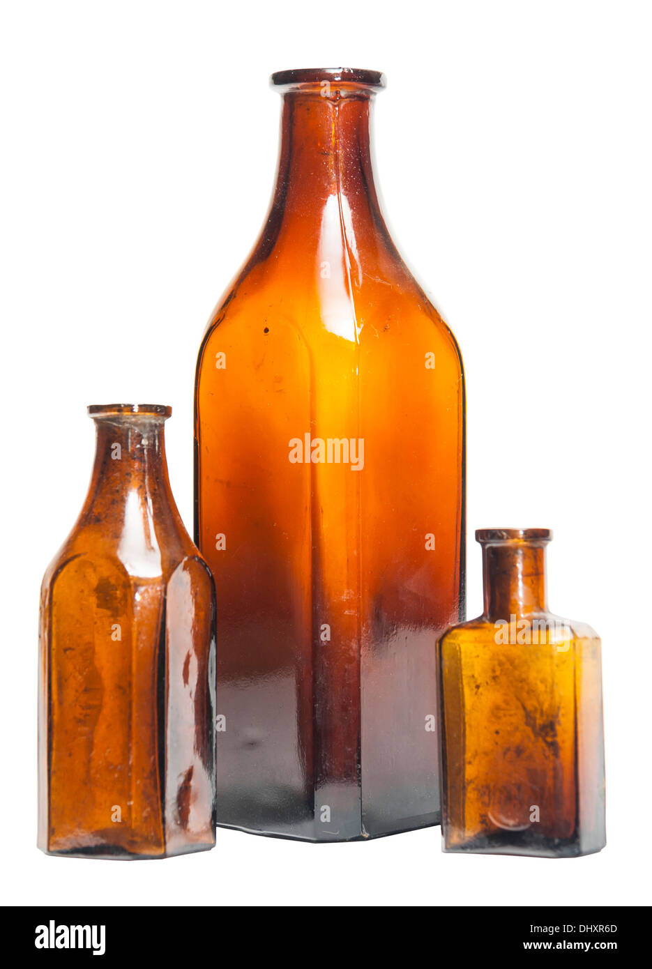 Isolated old style bottles in different shape and colors - Stock Image