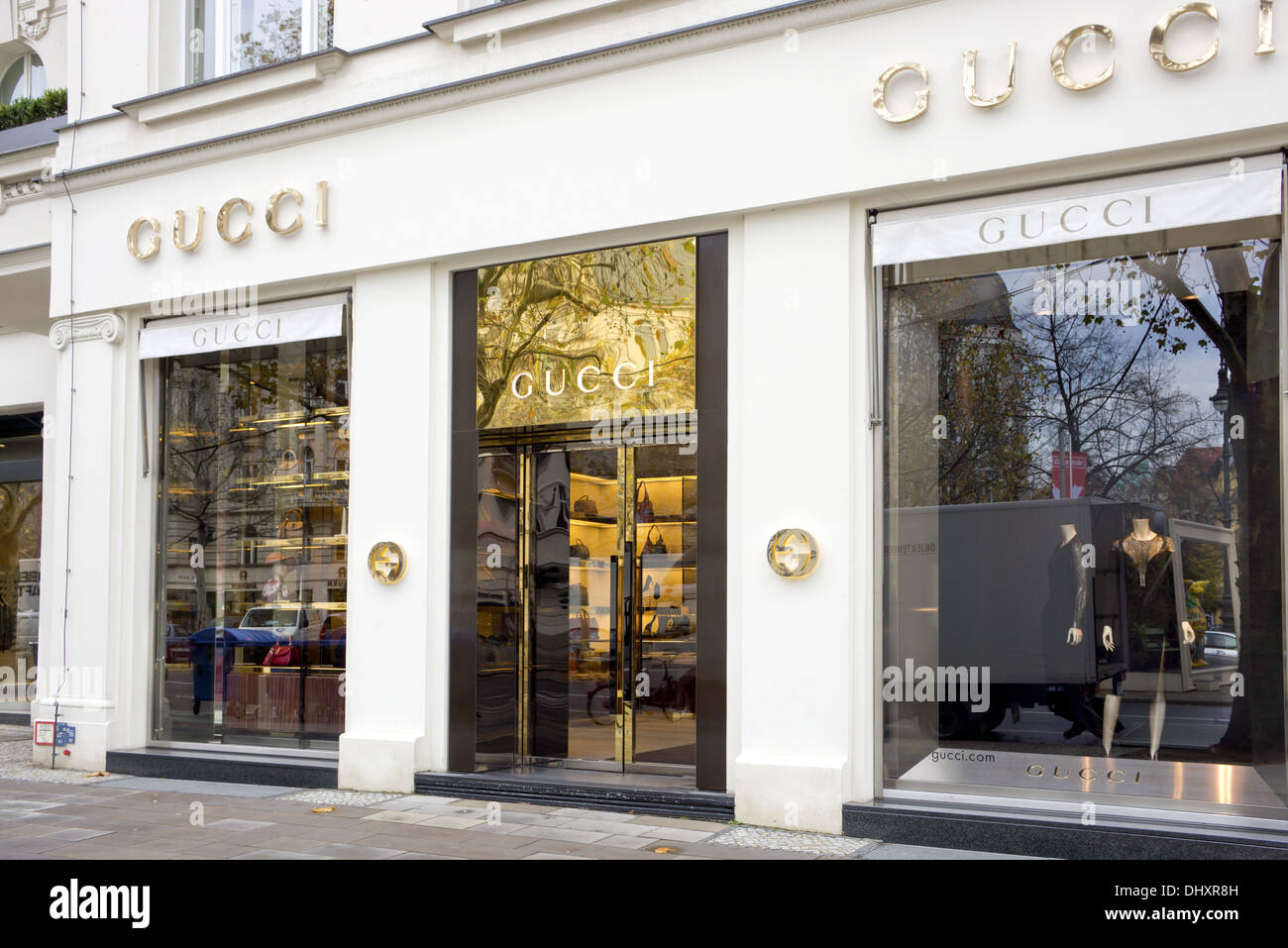The fashion company Gucci is the biggest-selling Italian brand in the world. Gucci's elegant store in the central of Berlin. - Stock Image