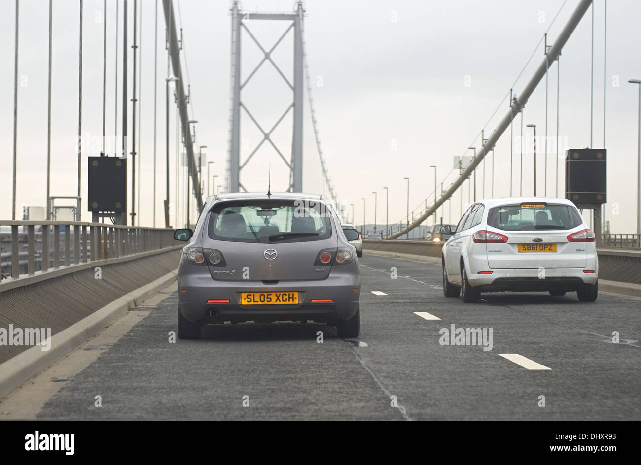 Cars crossing the Forth Road Bridge near Glasgow, Scotland,UK. - Stock Image