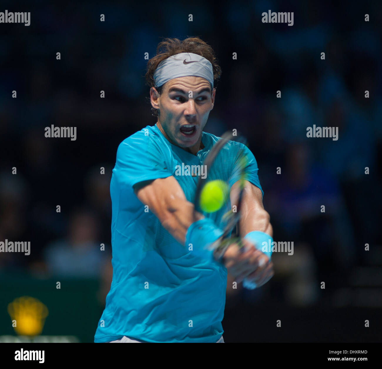 Rafael Nadal, World Number 1, playing at the Barclays ATP World Tour Finals, The O2 in London, Day 3 - Stock Image