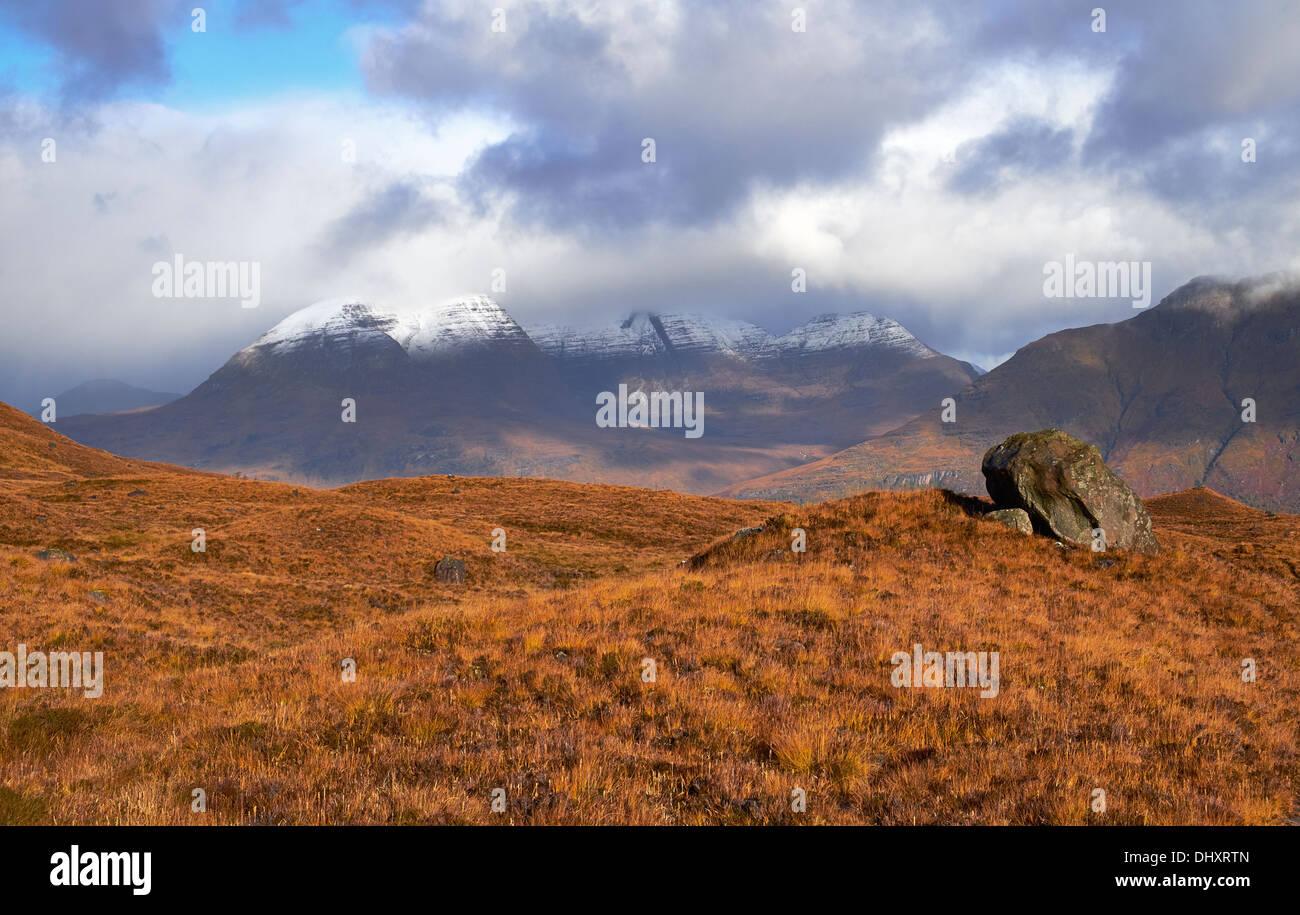 Beinn Alligin above Torridon in the Scottish Highlands. - Stock Image