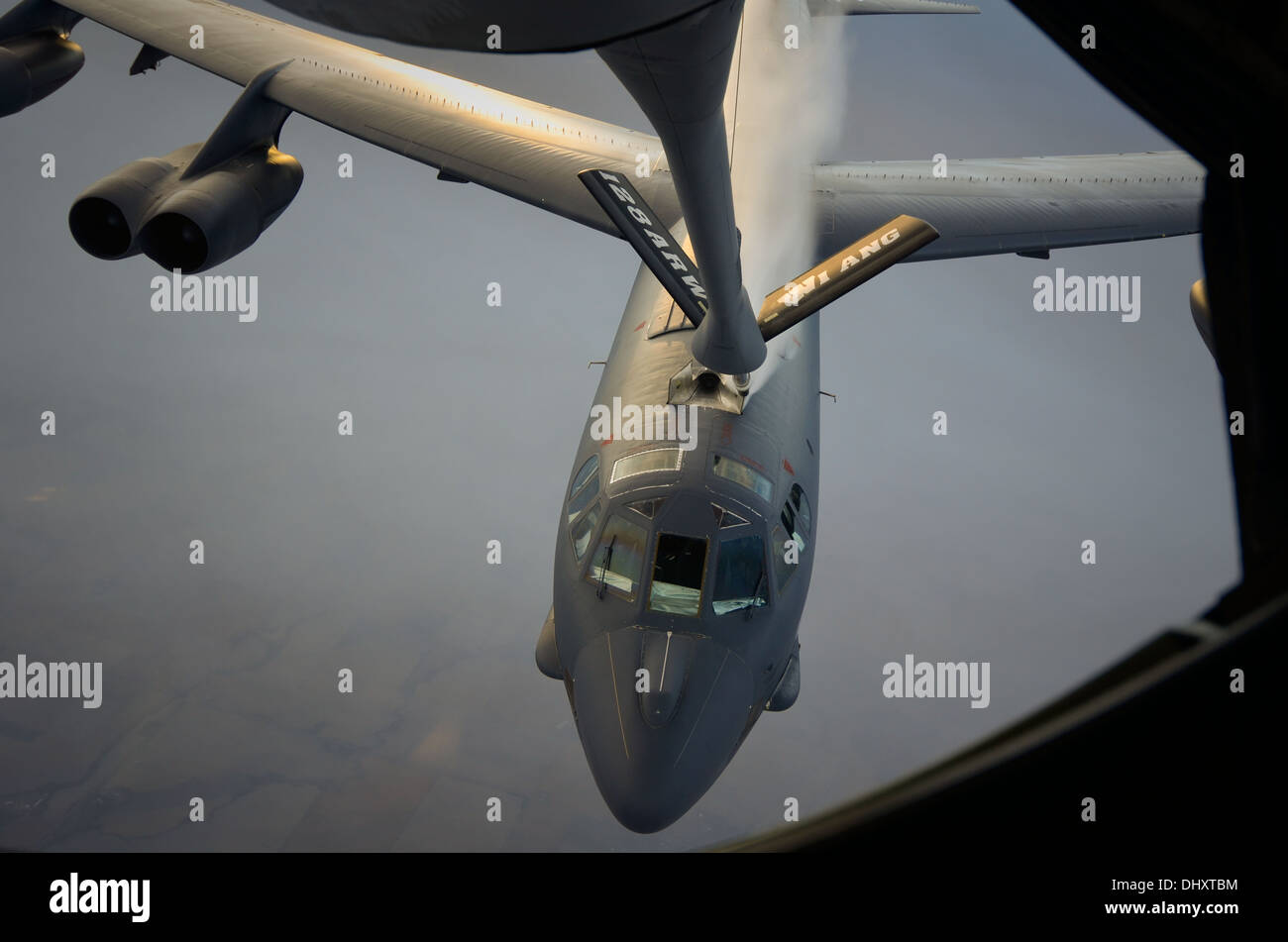 Members of the 128th Air Refueling Wing, Milwaukee, refuel a B-52 Stratofortress during a training exercise Nov. 3, 2013. - Stock Image
