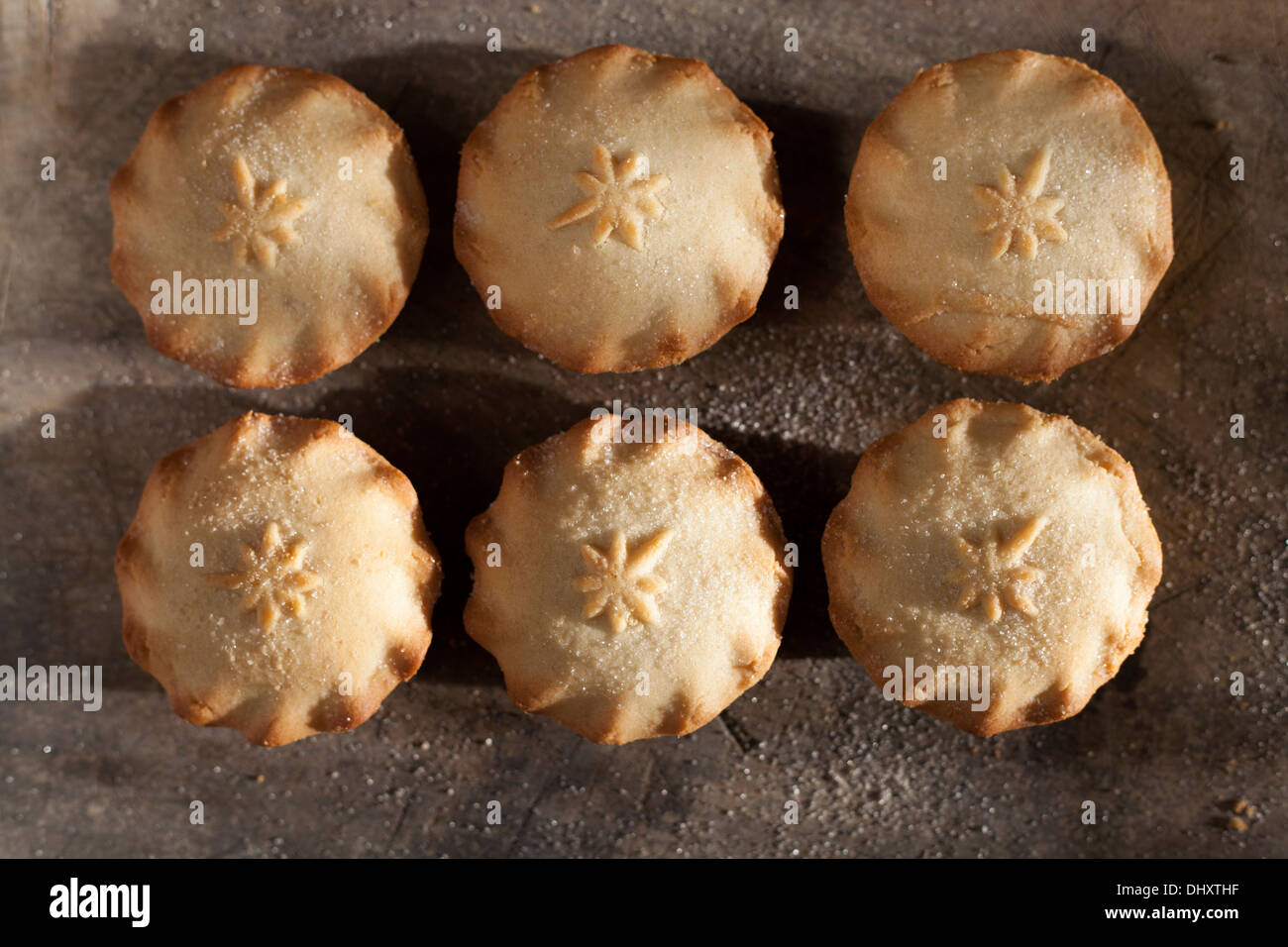 Mince pies on the wooden board - Stock Image
