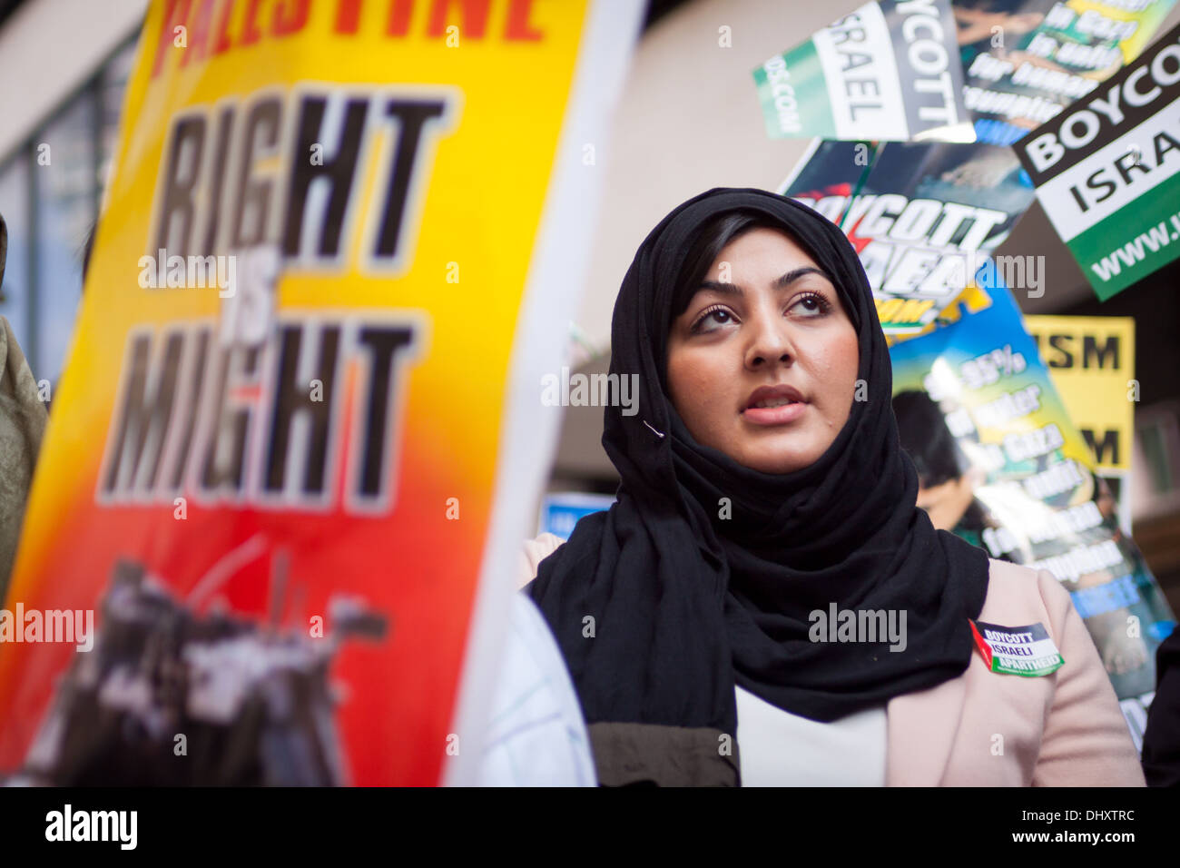 A stands at the 2013 Al-Quds day demonstration, London. Al-Quds day is a pro-Palestinian day of protest. - Stock Image