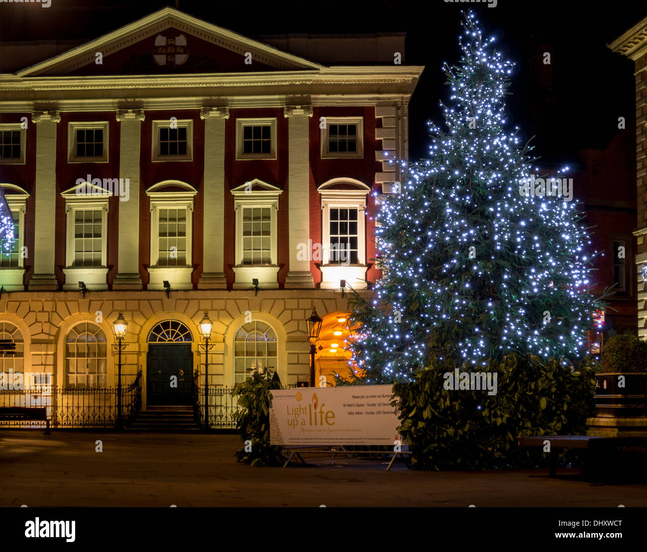 Christmas Tree With Lights Outside The Mansion House In York City Centre  2013.