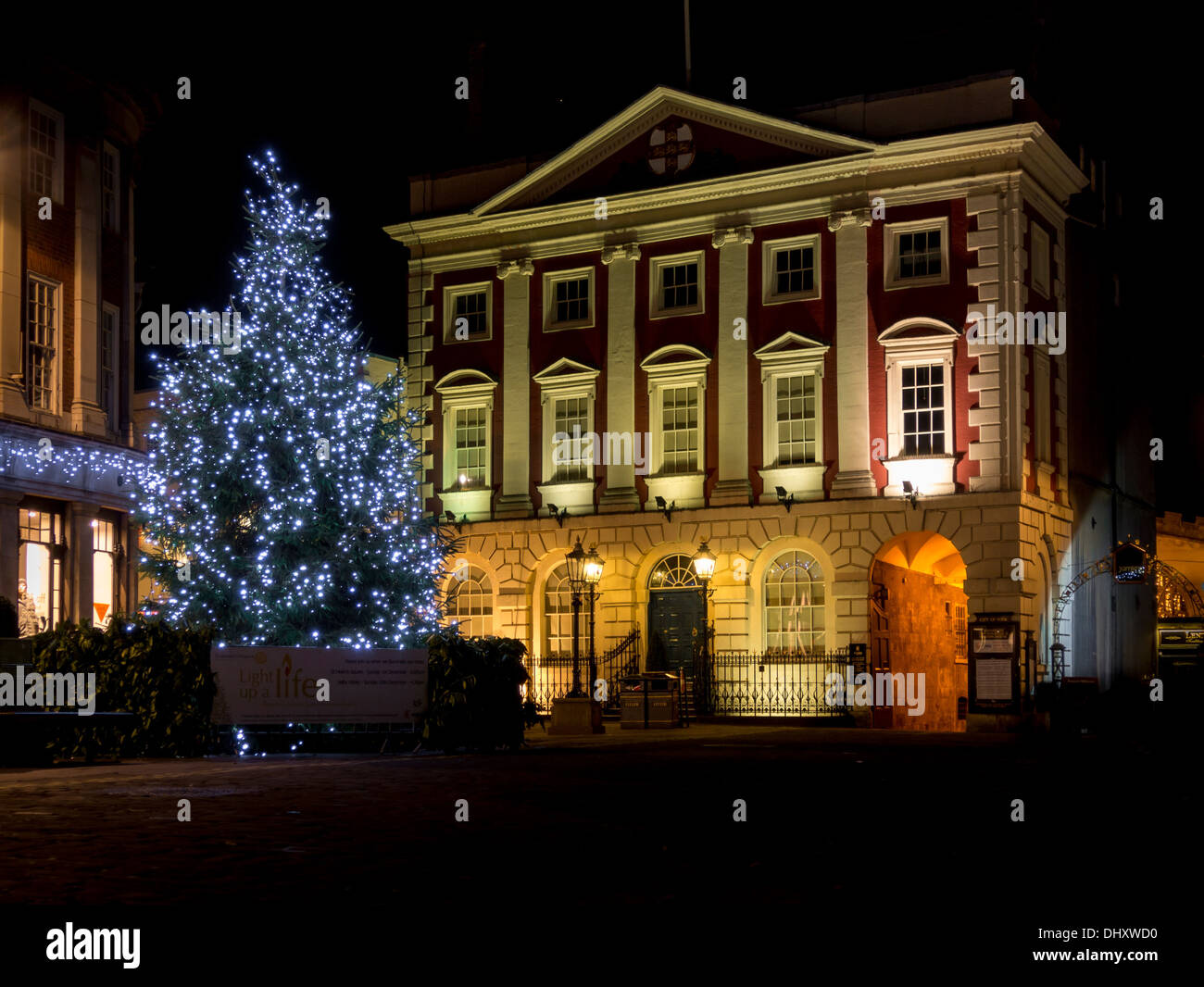 Christmas Tree With Lights Outside The Mansion House In York City