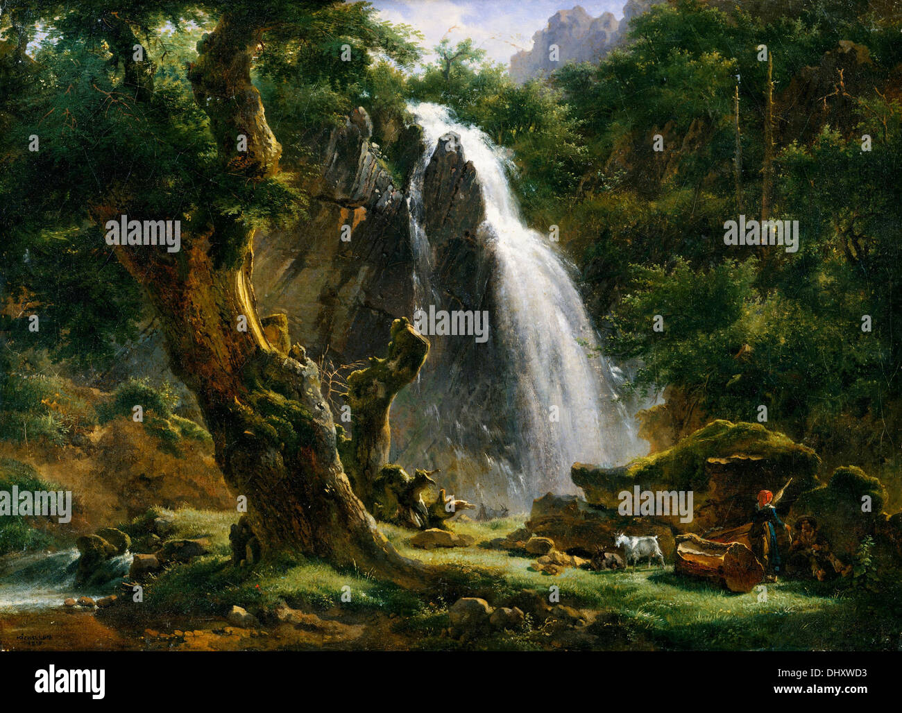 Waterfall at Mont-Dore - by Achille-Etna Michallon, 1818 - Stock Image