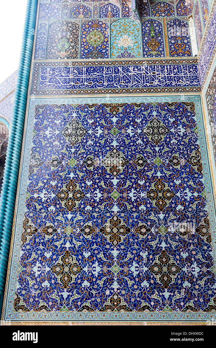 detail of tile panel, entrance portal of the Masjid-i Shah, Isfahan ...