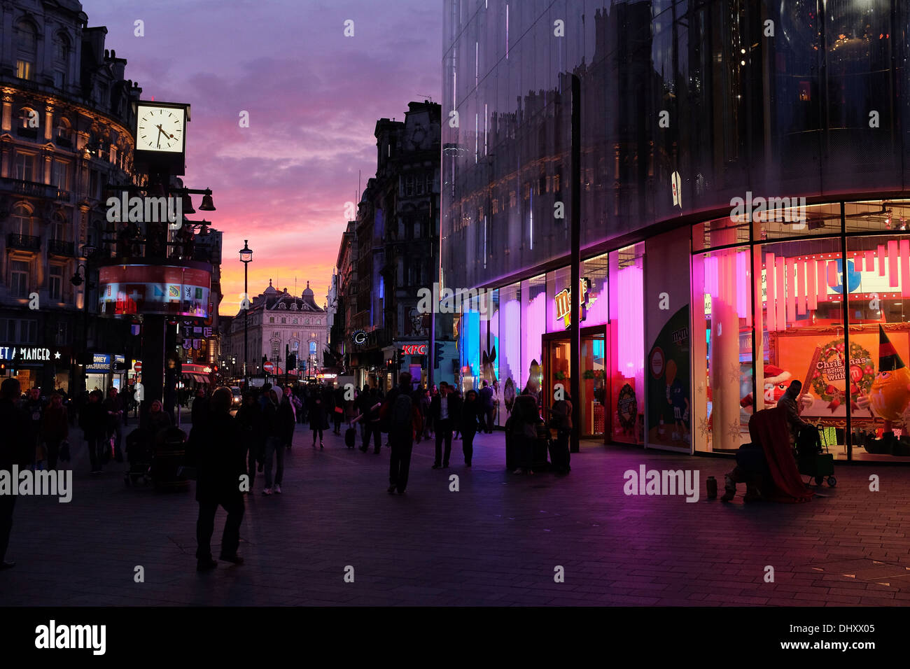 Autumn sunset in London from Leicester Square. - Stock Image