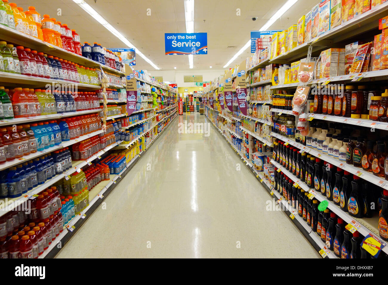Empty Aisle In Grocery Store Stock Photo Alamy